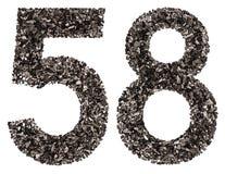 Arabiskt tal 58, femtioåtta, från svart ett naturligt kol, I Royaltyfri Foto