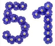 Arabiskt tal 51, femtio en, från blåa blommor av lin, isolat Fotografering för Bildbyråer