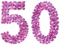 Arabiskt tal 50, femtio, från blommor av lilan som isoleras på whi royaltyfria foton