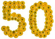 Arabiskt tal 50, femtio, från gula blommor av smörblomman, isolator Arkivfoto
