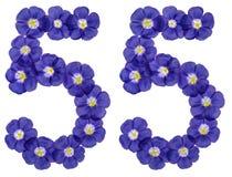 Arabiskt tal 55, femtiofem, från blåa blommor av lin, isolat Arkivfoto