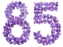 Arabiskt tal 85, femtiofem, från blommor av altfiolen som isoleras Royaltyfria Bilder