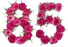 Arabiskt tal 85, femtiofem, från röda blommor av steg, isolat Arkivfoton