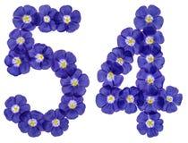 Arabiskt tal 54, femtiofyra, från blåa blommor av lin, isolat Arkivfoto
