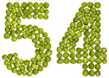 Arabiskt tal 54, femtiofyra, från gröna ärtor som isoleras på whit Fotografering för Bildbyråer