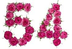 Arabiskt tal 54, femtiofyra, från röda blommor av rosen, isolat Arkivfoto