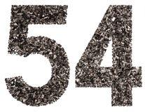 Arabiskt tal 54, femtiofyra, från svart ett naturligt kol, är Arkivbilder