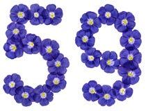 Arabiskt tal 59, femtionio, från blåa blommor av lin, isolat Arkivbild