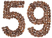 Arabiskt tal 59, femtionio, från kaffebönor som isoleras på wh Royaltyfri Bild