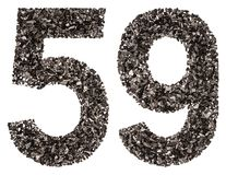 Arabiskt tal 59, femtionio, från svart ett naturligt kol, är Royaltyfri Foto