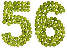 Arabiskt tal 56, femtiosex, från gröna ärtor som isoleras på vit Royaltyfri Fotografi