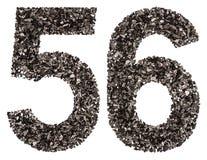 Arabiskt tal 56, femtiosex, från svart ett naturligt kol, iso Arkivbild