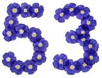 Arabiskt tal 53, femtiotre, från blåa blommor av lin, isola Royaltyfri Fotografi