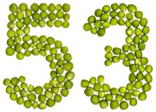 Arabiskt tal 53, femtiotre, från gröna ärtor som isoleras på whi Arkivfoton