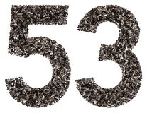 Arabiskt tal 53, femtiotre, från svart ett naturligt kol, I Royaltyfri Foto
