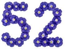 Arabiskt tal 52, femtiotvå, från blåa blommor av lin, isolat Royaltyfria Bilder