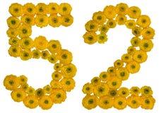 Arabiskt tal 52, femtiotvå, från gula blommor av smörblomman, Arkivbild