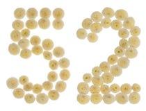 Arabiskt tal 52, femtiotvå, från kräm- blommor av chrysanthemuen Royaltyfri Foto