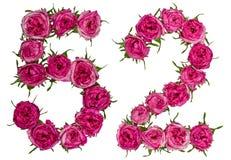 Arabiskt tal 52, femtiotvå, från röda blommor av steg, isolerat Arkivfoton