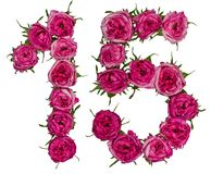 Arabiskt tal 15, femton, från röda blommor av steg, den isolerade nollan Arkivbilder