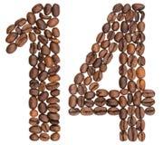 Arabiskt tal 14, fjorton, från kaffebönor som isoleras på whit arkivfoto