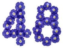 Arabiskt tal 48, fyrtioåtta, från blåa blommor av lin, isola Arkivbild