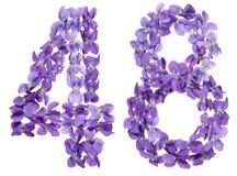 Arabiskt tal 48, fyrtioåtta, från blommor av altfiolen som isoleras Royaltyfria Foton
