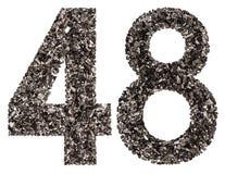 Arabiskt tal 48, fyrtioåtta, från svart ett naturligt kol, I Royaltyfria Foton