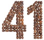 Arabiskt tal 41, fyrtio en, från kaffebönor som isoleras på whi Royaltyfri Fotografi