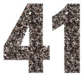 Arabiskt tal 41, fyrtio en, från svart ett naturligt kol, iso Royaltyfri Foto