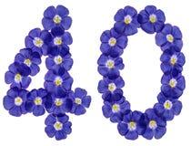 Arabiskt tal 40, fyrtio, från blåa blommor av lin som isoleras på Royaltyfri Fotografi