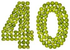 Arabiskt tal 40, fyrtio, från gröna ärtor som isoleras på vitbac arkivfoton