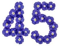 Arabiskt tal 45, fyrtiofem, från blåa blommor av lin, isolat Royaltyfri Bild