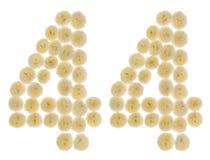 Arabiskt tal 44, fyrtiofyra, från kräm- blommor av chrysanthem Arkivfoton