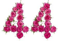 Arabiskt tal 44, fyrtiofyra, från röda blommor av rosen, isolat Arkivbild
