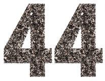 Arabiskt tal 44, fyrtiofyra, från svart ett naturligt kol, är Arkivfoto
