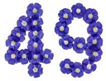 Arabiskt tal 49, fyrtionio, från blåa blommor av lin, isolat Royaltyfri Foto