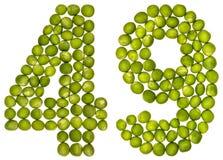 Arabiskt tal 49, fyrtionio, från gröna ärtor som isoleras på whit Arkivbild