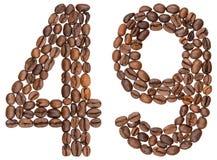 Arabiskt tal 49, fyrtionio, från kaffebönor som isoleras på wh Arkivbilder