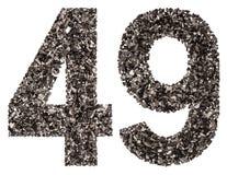 Arabiskt tal 49, fyrtionio, från svart ett naturligt kol, är Arkivfoto