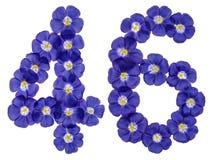 Arabiskt tal 46, fyrtiosex, från blåa blommor av lin, isolat Royaltyfri Fotografi