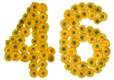 Arabiskt tal 46, fyrtiosex, från gula blommor av smörblomman, Arkivbild