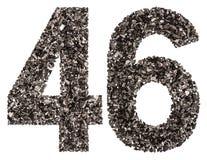 Arabiskt tal 46, fyrtiosex, från svart ett naturligt kol, iso Arkivfoto