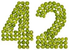 Arabiskt tal 42, fyrtiotvå, från gröna ärtor som isoleras på vit Royaltyfria Foton