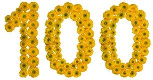 Arabiskt tal 100, hundra, från gula blommor av buttercuen Arkivbild