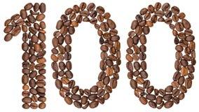 Arabiskt tal 100, hundra, från kaffebönor som isoleras på Arkivfoton