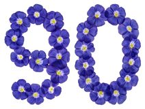 Arabiskt tal 90, nittio, från blåa blommor av lin, isolerade nolla Arkivbilder