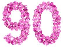 Arabiskt tal 90, nittio, från blommor av altfiolen som isoleras på wh Arkivbild
