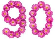 Arabiskt tal 90, nittio, från blommor av krysantemumet, isolat Arkivbild