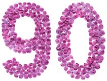 Arabiskt tal 90, nittio, från blommor av lilan som isoleras på wh Arkivbilder